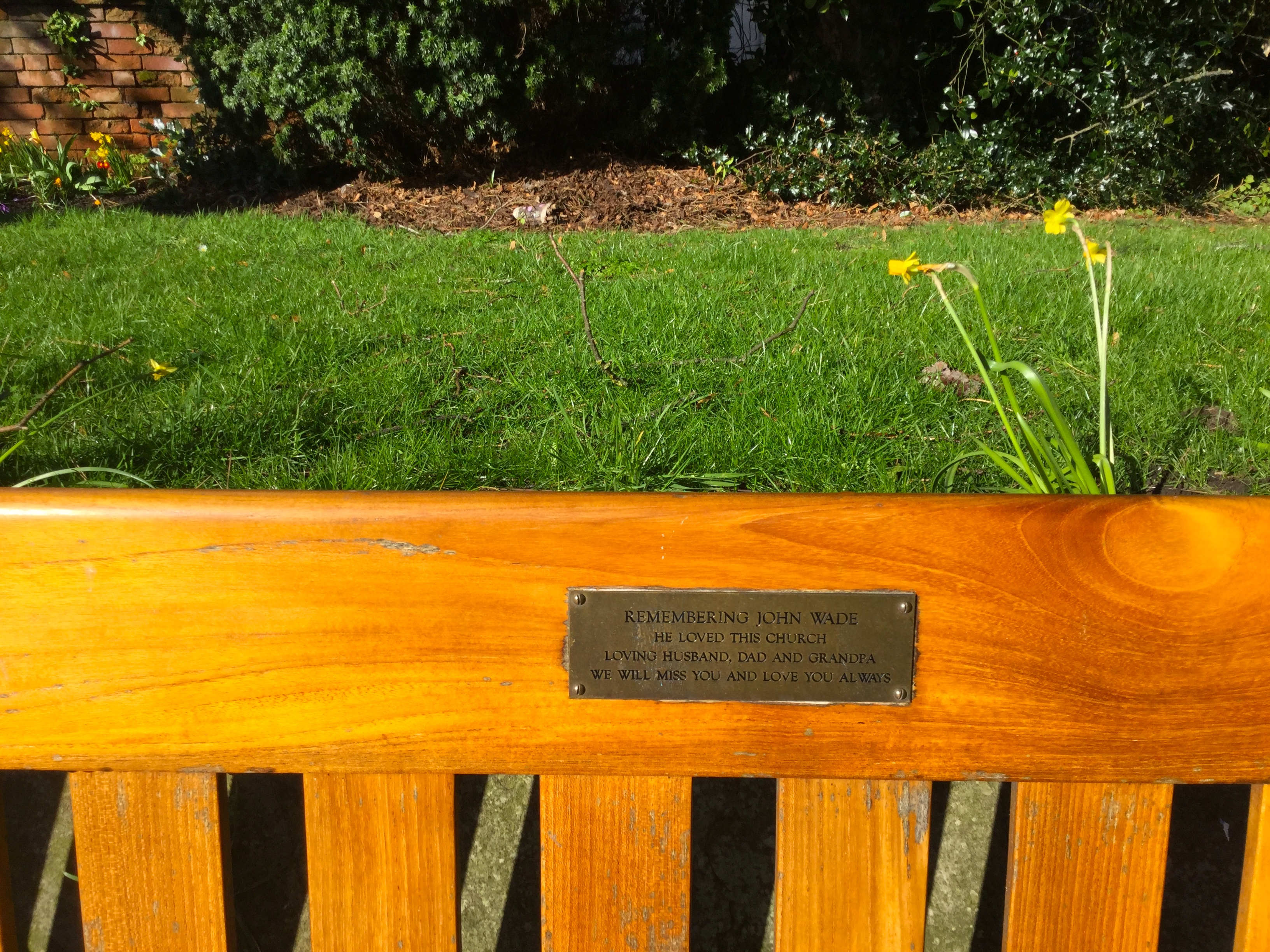 Memorial Bench dedicated to the memory of John Wade