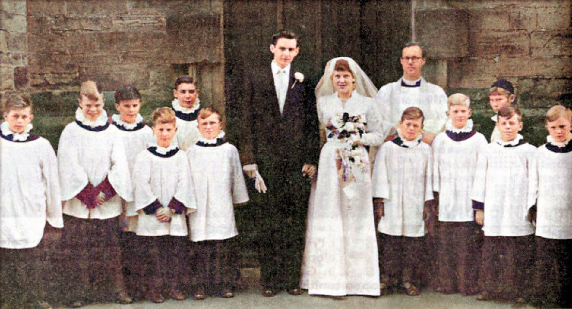 1958: Reverend Thomas Hoyle takes a wedding service.