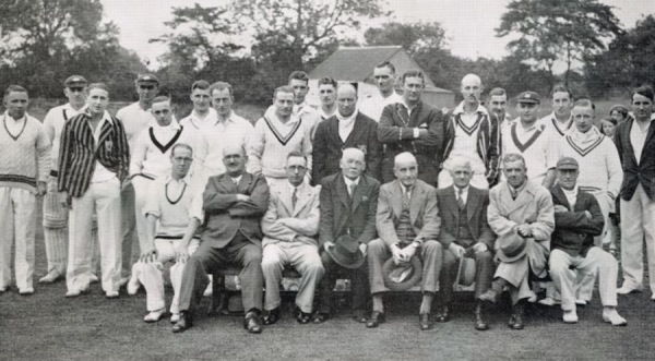 1937: New pavilion opening - C. Smith, P. Billyeald, C. Millward, H. Reek, J. Seely, N. Knight, M. Oakley, J. Reeve, A.W. Carr, A. Iremonger, D. Morkel, R. Bardill, T. Fletcher, C. Hardy, R. Lancaster, D. Isam, R. Fisher, A. Turton, H. Collyer, F.B. Smith, C.E. Collyer, A. Stevenson, H. Bardill.