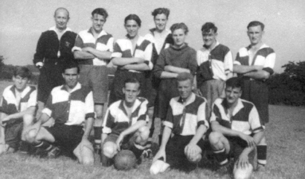 Calverton United 1949-50 - Back row: Referee – not known, Roy Truman, Derek Weston, Frank Wright, Gordon Whiting,  Arthur Lomas, Rex Little Front row: Peter Kendall, Frank Morley, Cliff Bladon, Lawrence Cooper, George Annable