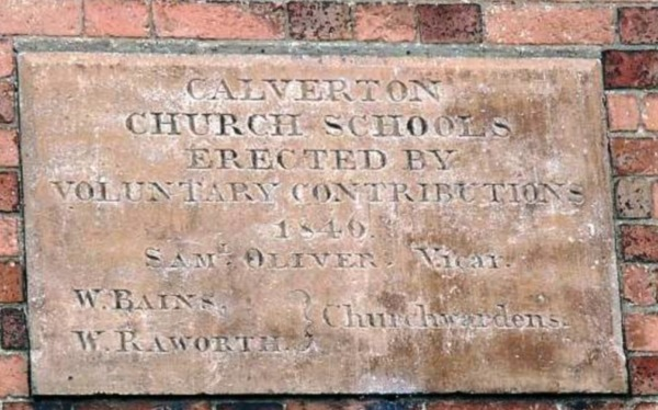 Plaque on the old Church School, Burnor Pool