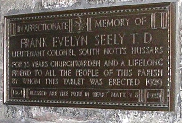 Plaque for Colonel Frank Evelyn Seely