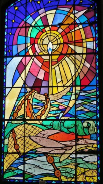 St Wilfrids Church - Sheila Wood-designed Millennium window.