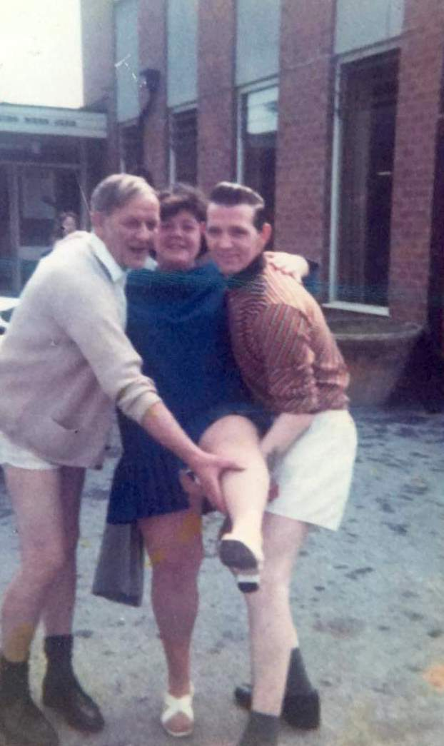 Bob Armstrong, Rita Jacques and Ernie Ellis outside the Geordie Club!